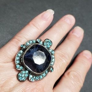Large blue rhinestone ring